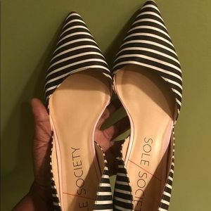 Sole Society Striped D'Orsay Heels * Black/white